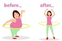 女孩转动减肥的hula箍 以后女孩的图在训练前的和 女孩参与健身 向量例证