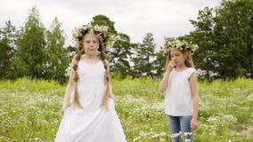 女孩转动花缠绕草坪夏天休假 股票录像