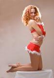 女孩辅助工性感的圣诞老人 免版税库存图片