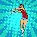 女孩运动员掷标枪,竞技夏天比赛 库存图片