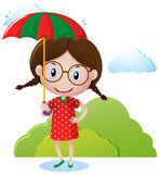 女孩运载的伞在公园 库存例证