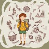 女孩远足者用在种族华丽样式的野营的设备 向量例证