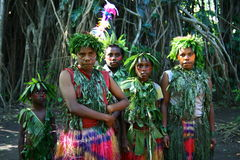 女孩部族瓦努阿图村庄 免版税库存图片