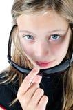 女孩部署的太阳镜 免版税库存图片