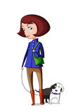 女孩采取步行的狗 免版税库存图片