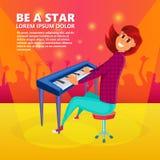 女孩钢琴使用 钢琴音乐会背景 外籍动画片猫逃脱例证屋顶向量 免版税库存照片