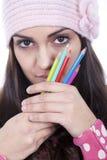 女孩铅笔 免版税库存照片