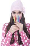 女孩铅笔 免版税库存图片