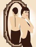 女孩镜子 免版税库存照片