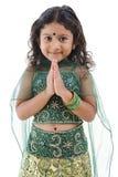 女孩问候印地安人 库存图片
