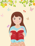 女孩阅读书传染媒介例证 向量例证