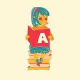 女孩阅读书例证 免版税库存图片