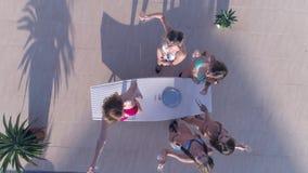 女孩集会,人群苗条妇女到游泳衣里获得乐趣并且喝香槟在度假在夏天 股票录像