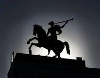 女孩雕塑马的 免版税库存图片