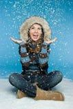 女孩雪冬天 库存图片