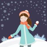 女孩雪球 免版税库存图片