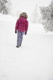 女孩雪走 库存照片
