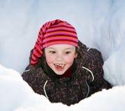 女孩雪 免版税图库摄影