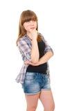 女孩青少年的事认为 图库摄影