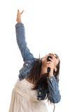 女孩青春期前唱歌 图库摄影