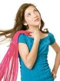 女孩青春期前的围巾学校 免版税库存图片