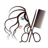 女孩面孔和剪刀有梳子的 库存例证