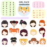女孩面孔建设者传染媒介孩子字符具体化和少女创作朝向嘴唇或注视例证girlie套  库存例证