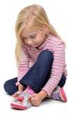 女孩鞋带 免版税图库摄影
