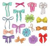 女孩鞠躬传染媒介少女蝴蝶结或girlie丝带在头发或装饰的礼物在Birtrhday例证套鞠躬 皇族释放例证