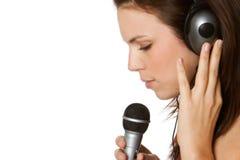 女孩音乐唱歌 免版税库存照片