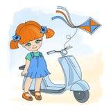 女孩风筝动画片传染媒介例证集合 向量例证