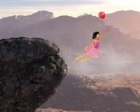 女孩飞行,和平,希望,爱,自然,精神上的复活 免版税库存照片