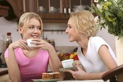 女孩食用微笑的茶 免版税库存图片