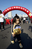 女孩马拉松 免版税库存图片