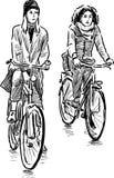 女孩骑自行车者 免版税库存照片
