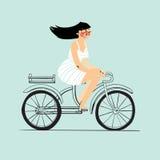 女孩骑自行车 也corel凹道例证向量 查出 免版税库存图片