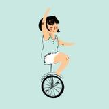 女孩骑自行车 也corel凹道例证向量 免版税库存照片