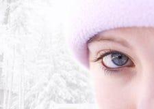 女孩高关键冬天 免版税图库摄影