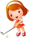 女孩高尔夫球使用 免版税库存图片