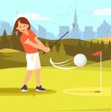 女孩高尔夫球运动员实践的高尔夫球开车范围路线 库存例证