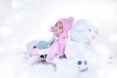 女孩魔术冬天 免版税库存照片