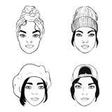女孩黑白画象用不同的戴头受话器,时尚传染媒介例证的 免版税库存图片