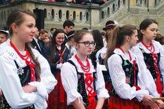 女孩鼓手在圣Stanislaus天 免版税库存照片