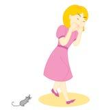 女孩鼠标恐慌 库存图片
