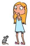 女孩鼠标惊吓了 免版税库存图片