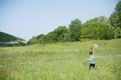 女孩,孩子,网,生活方式,夏天,森林,昆虫,喜悦,环境,自然 库存照片
