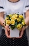 女孩,拿着有新春天的花瓶开花 图库摄影