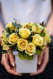 女孩,拿着有新春天的花瓶开花 库存照片