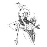 女孩,鱼,海鸥,海草,海星,圆环 库存照片