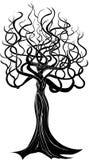 女孩-与面孔的树 库存例证